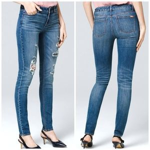 WHBM | Floral Embroidered Destructed Skinny Jeans